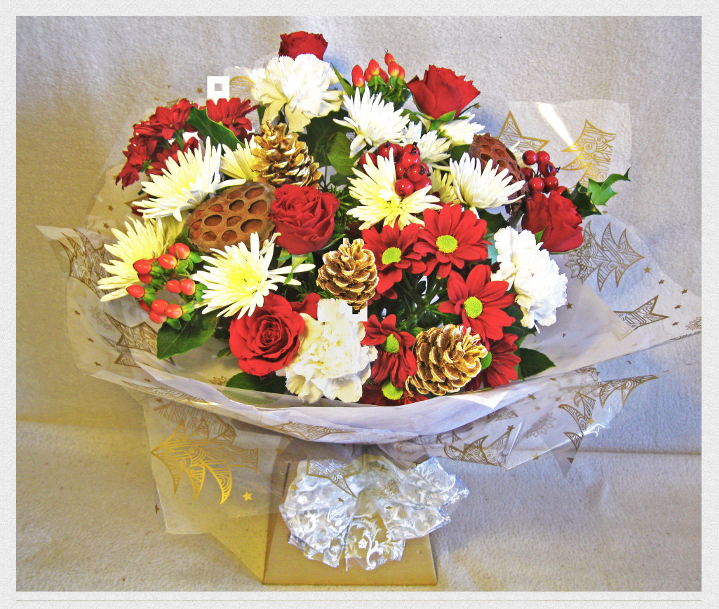 Seasons Greetings Hand Tied Bouquetseasons Greetings Hand Tied Bouquet