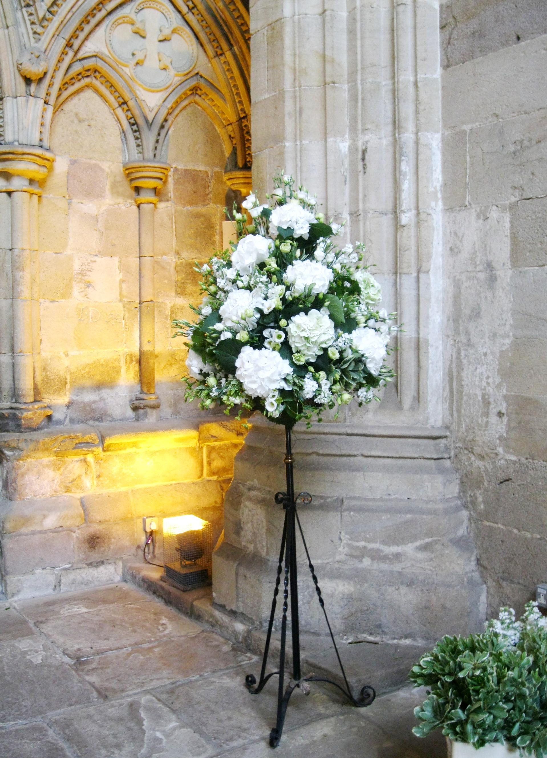 wedding flowers leeds, wedding flower arrangements church, pedestal ...