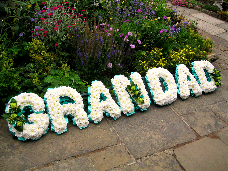 Grandad funeral tribute chrysanthmum based funeral wreath with poly grandad funeral tribute leeds leeds funeral florists leeds funeral flowers funeral izmirmasajfo Gallery