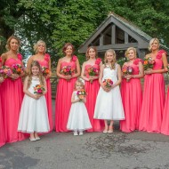 coral, bright bridesmaids, flowers, peach, pink, orange