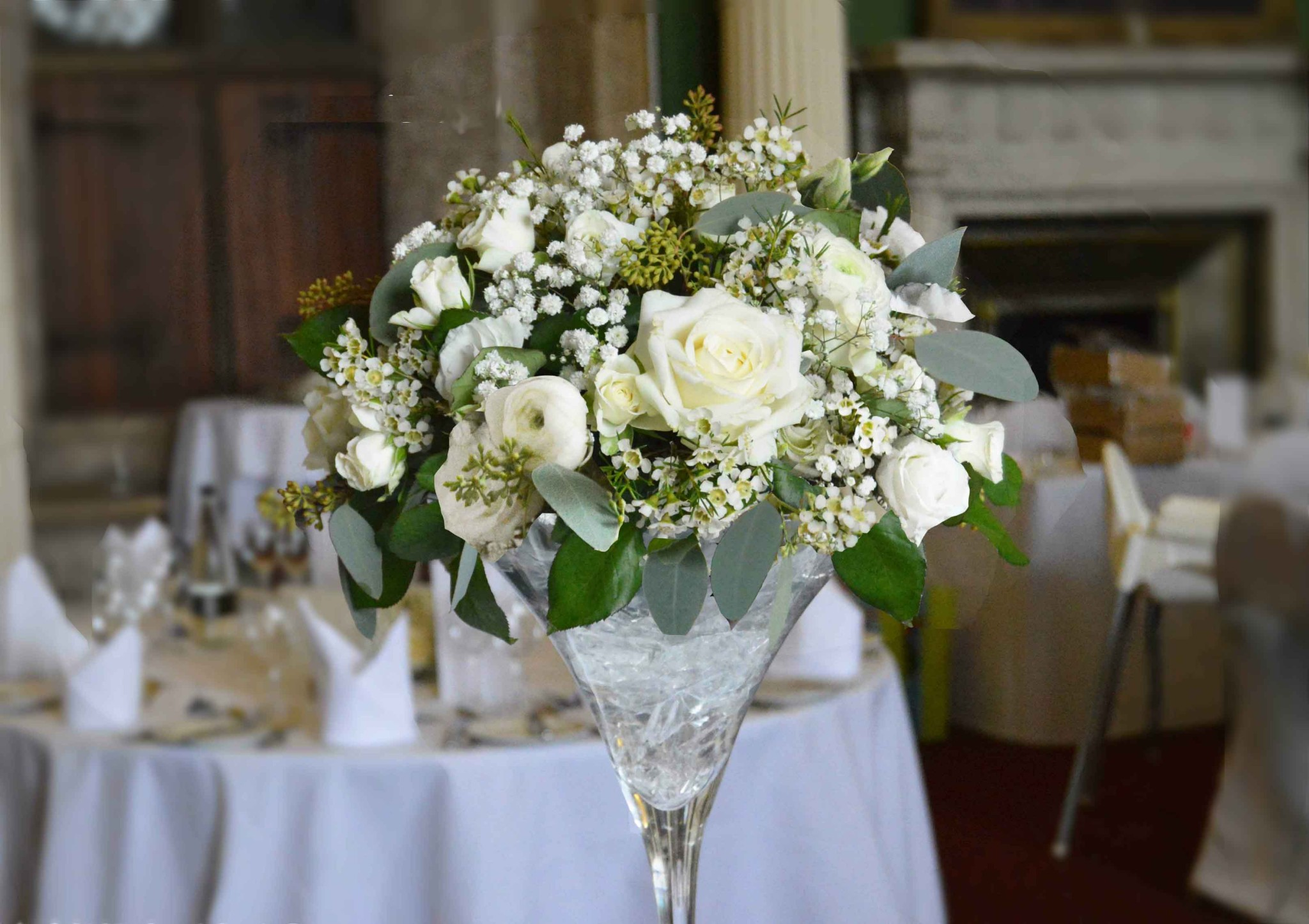 martini vase wedding flowers leeds hazlewood castle