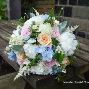 1 country garden white peonies peach pink roses light blue delphinium bridal bouquet