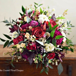 1 red wine maroon cream wedding flowers rustic rose