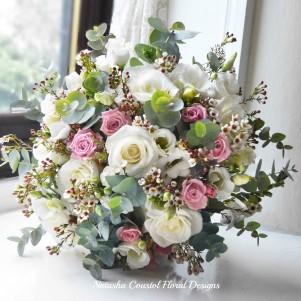 1 white akito rose pale pink rose wax flower eucalpytus wedding flowers rustic natural posy copy