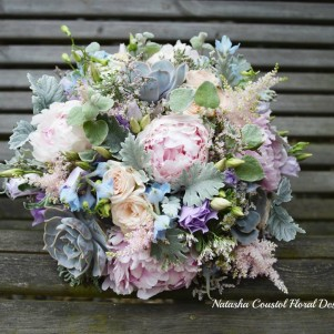 pastel succulent peony bridal bouquet leeds wedding flowers