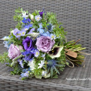 purple and blue rustic bridal bouquet wedding flowers leeds