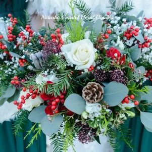 2 christmas wedding flowers winter wedding berries gypsophila eucalyptus