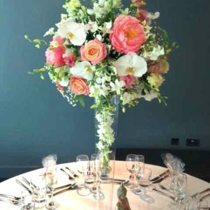 2 CORAL CENTERPIECE WHITE AND CORAL FLOWERS PEONIES TALL VASE ORCHID ROSE MISS PIGGY