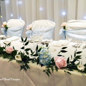 2 top table flower garland hydrangea roses blue pink