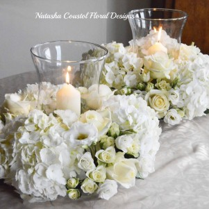 3 HURRICANE VASE CANDLE WREATH WHITE CREAM FLOWERS HYDRANGEA ROSE COMPACT copy