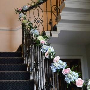 3 staricase fresh flower garland blue hydrangea pink roses greenery stairway