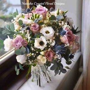 anemone dusky pink thistle gyp wedding flowers yorkshire