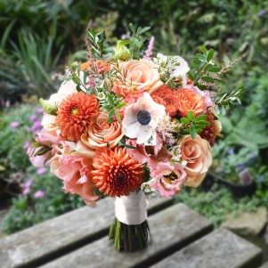 anemone peach orange dahlia weding flowers