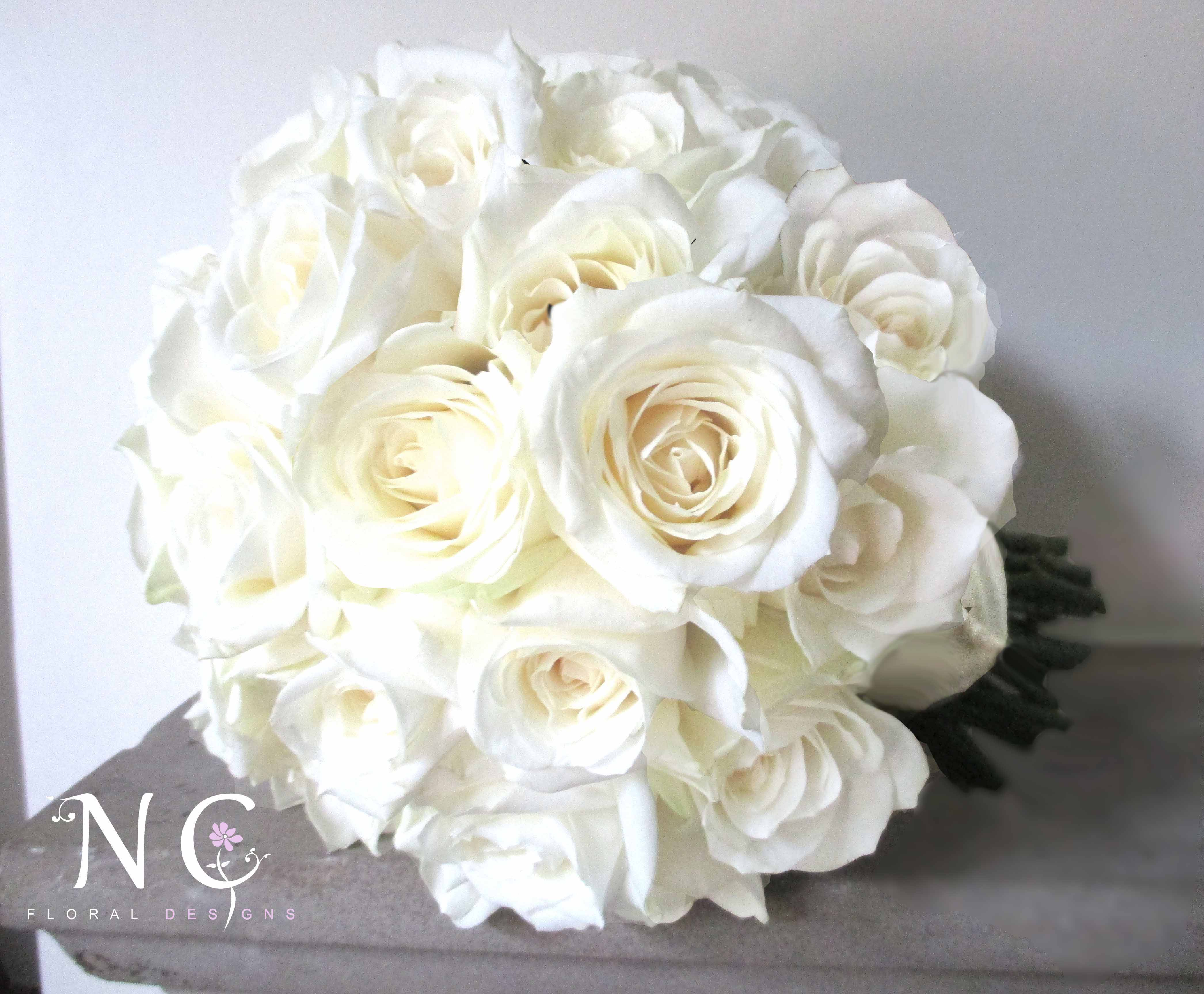 Avalanche Rose Bouquet Compact Ivory Roses Wedding Flowers Bridal