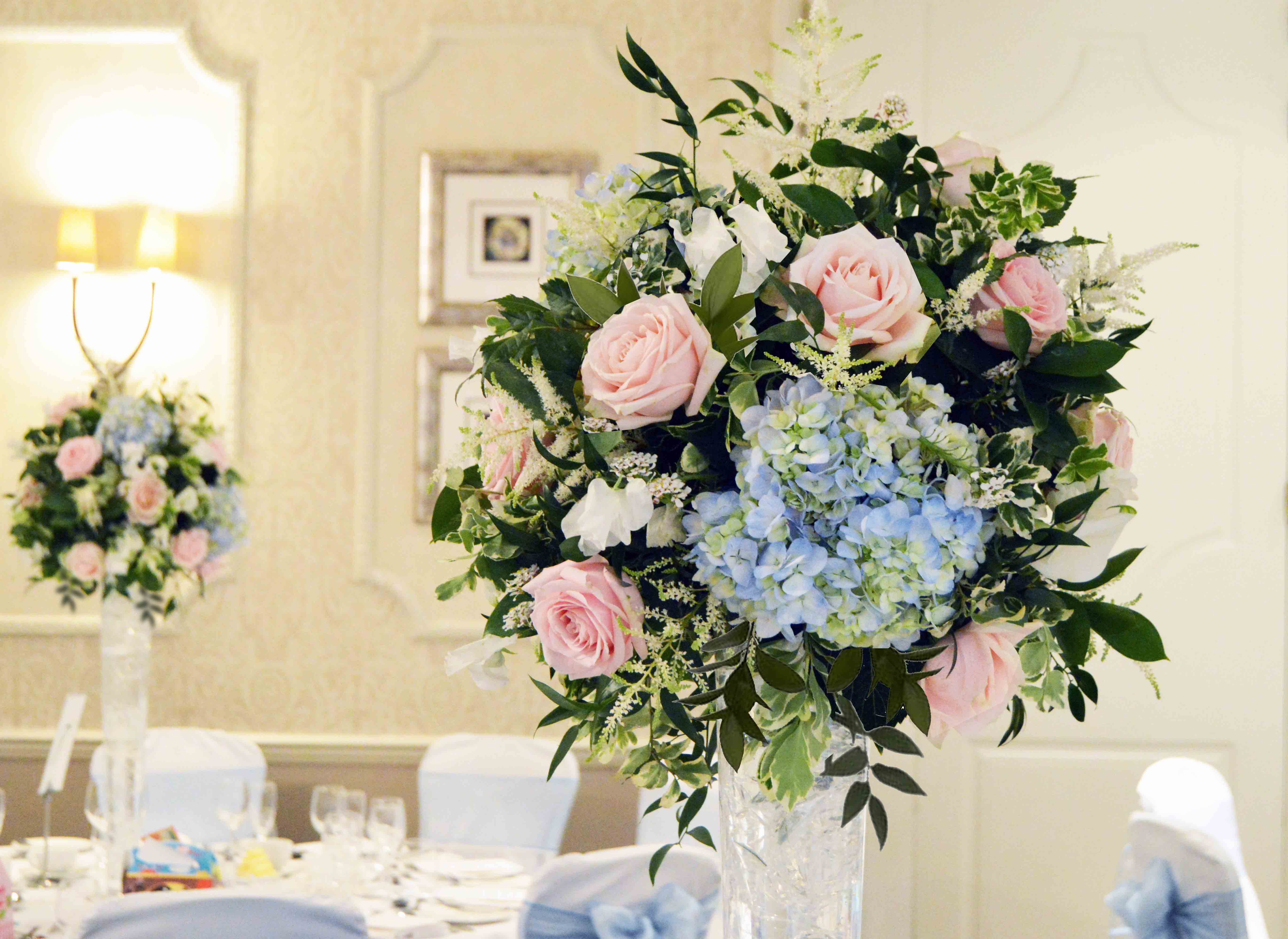Ball Flowers Tall Centerpiece Baby Pastel Blue Pale Pink Green
