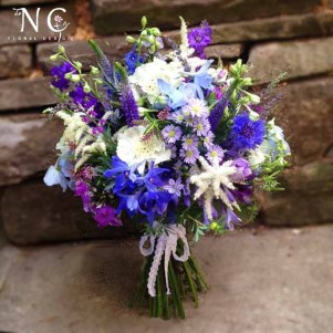 blue purple wildflower bouquet wedding