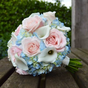 blush pale pink roses white cala lily pale blue hydrangea wedding flowers bridal