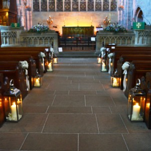 bolton abbey ceremony flowers lanterns gyp pew ends