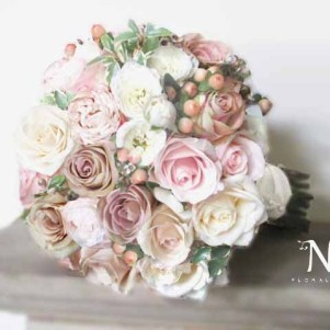bridal, vintage cream, brown roses, pink, wedding flowers