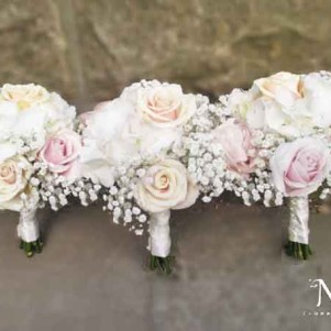 bridesmaid blush roses talea and cream hydrangea gypsophila