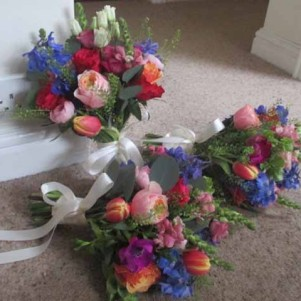 bridesmaids, blue, orange, pink bright wedding flowers