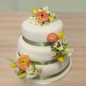 cake flowers coral and yellow tulips fresh
