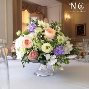 cake stand centerpiece flowers david ausin rose juliet pastel
