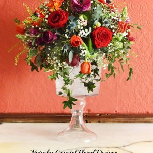 centerpiece swinton park red burgundy maroon flowers