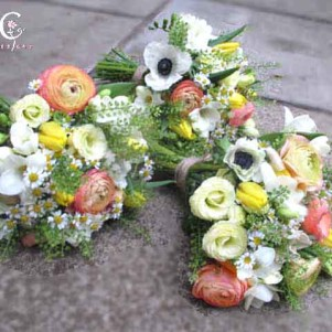 coral, yellow, spring anemone wedding flowers