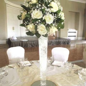 cream rose ball centerpiece