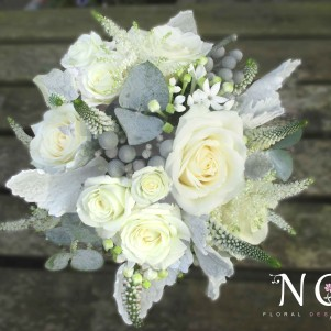 cream, silver, grey wedding flowers, leeds