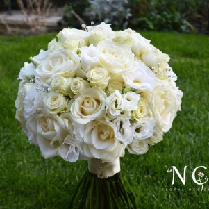 cream white compact bridal bouquet