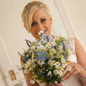 daisy weding flowers, blue, bridal