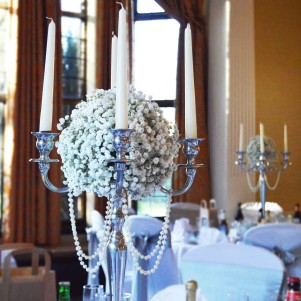 gypsophila ball candelabra silver wedding centerpiece copy