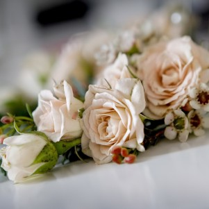 wedding flowers leeds peach corsage