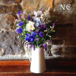 jug blue purple flowers wedding