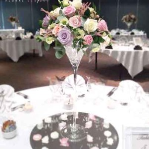 martini vase centerpiece pastel flowers headingley village reception