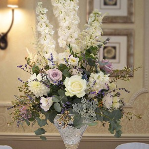 MARTINI VASE COCKTAIL LILAC CREAM RUSTIC FLOWER CENTERPIECE WOODHALL HOTEL WETHERBY copy