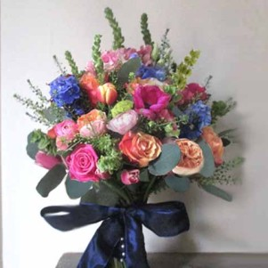 mixed rustic, wedding flowers, navy, bright, pinks, green, orange