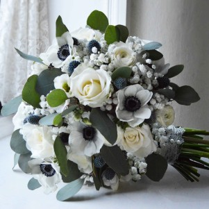 panda anemone brunia white gypsophila thistle grey wedding flowers rose copy