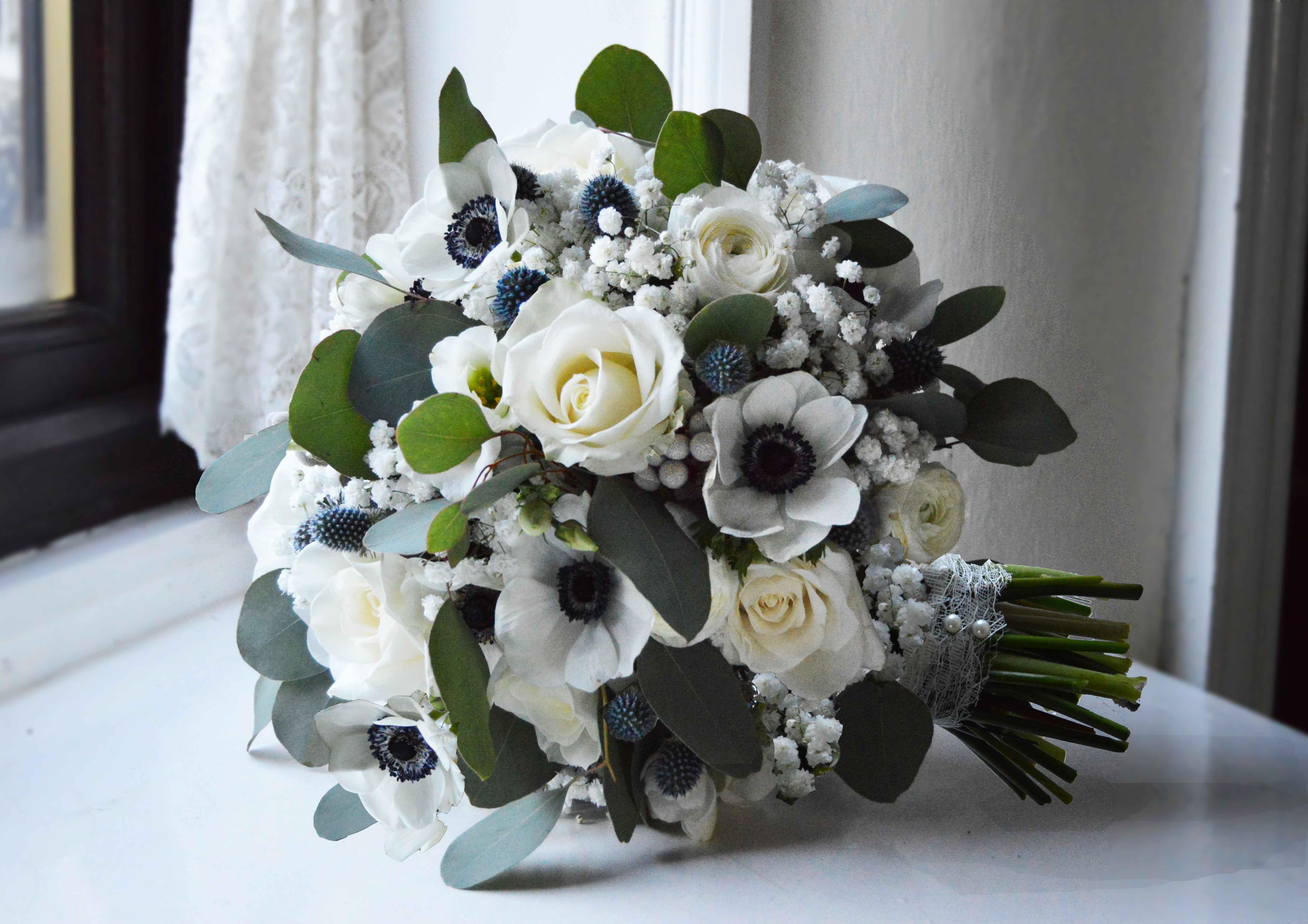 Panda Anemone Brunia White Gypsophila Thistle Grey Wedding Flowers