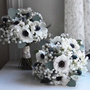 panda anemones gypsophila thistle white bridesmaids winter wedding flowers copy