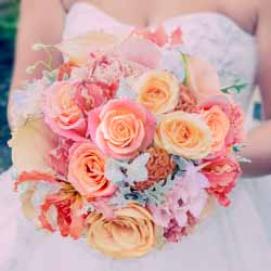 PEACH, CORAL WEDDING FLOWERS,
