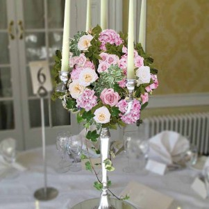 pink and cream candelabra flowers wedding yorkshire