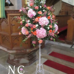 pink, coral, orange, pedestal flowers  ceremony flowers horsforth