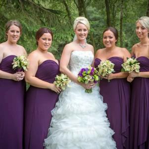 plum bridesmaids, green flowrs, orchid, calla, magenta