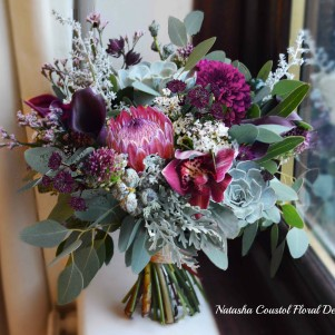 plum burgundy maroon wedding flowers protea succulent grey foliage euc bridal wedding flowers  copy