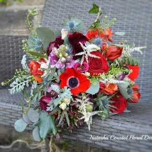 red burgundy maroon thistle rustic wedding flowers
