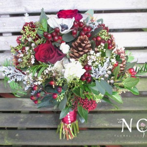 rustic, christmas, winter bridal bouquet, wedding flowers, berries, pine cones
