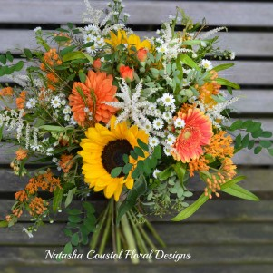 rustic orange wild white sunflower wedding flowers